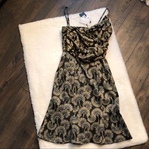 NWT Just Cavalli Black Gold Floral Shimmer Dress